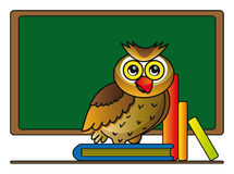 Owl with books. Illustration of cartoon owl with books in school isolated over white background Royalty Free Stock Images