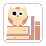 Owl on the books. Cute owl sitting on the books. Owl illustration Royalty Free Stock Photos