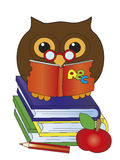 Owl with books. Funny owl with books, apple and pencil Stock Photography