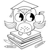 Owl on books with graduation hat coloring book page. A cute owl wearing a mortarboard hat, sitting on a stack of books and holding a red apple. Black and white royalty free illustration