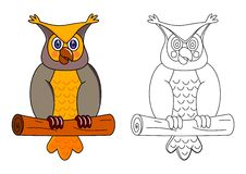 Owl on a branch as coloring Stock Images