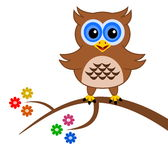 An owl on a branch with flowers Stock Images