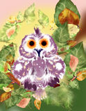 Owl on a branch. Illustration. Violet-white owl with orange eyes sitting on a tree branch with green leaves. Ready illustration.Cartoon stock illustration