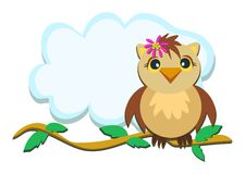Owl on a Branch with Leaves Royalty Free Stock Photos