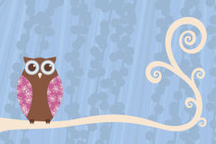 Owl Branch Scene. Owl perched on a swirling branch with patterned details Stock Images