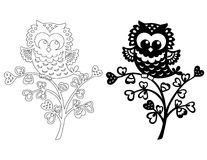 Owl on a branch sticker stencil Royalty Free Stock Photos