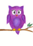 Owl on a branch watercolor painting. Hand drawn watercolor painting of an owl, that sitting on a tree branch Stock Photo