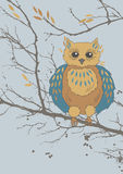 Owl and Branches. Owl and bare tree branches vector illustration
