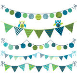 Owl Bunting Banner illustration stock