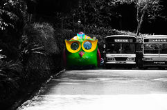 Owl bus at Sun Moon Lake Taiwan. Custom design of an owl bus on the line of normal bus at Sun Moon Lake give an unique and creative perception Royalty Free Stock Photography