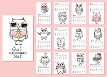Owl calendar 2017. Bird calendar 2017. Cute owls and birds for every month. Vector Royalty Free Stock Photos