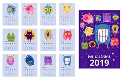 Owl Calendar Template. Flat design calendar template with funny owls expressing different emotions isolated vector illustration stock illustration