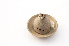 Owl Candle Handler de cerámica Fotografía de archivo