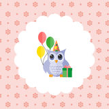 Owl in a cap with balloons and a gift. Royalty Free Stock Photo