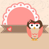 Owl card. Baby owl pink scrapbook frame. Vector illustration royalty free illustration