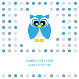 Owl card blue royalty free stock photo