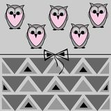 Owl card, geometric pattern and bow Stock Image