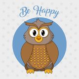 Owl cartoon design. Owl cartoon of animal cute and adorable creature theme Vector illustration royalty free illustration