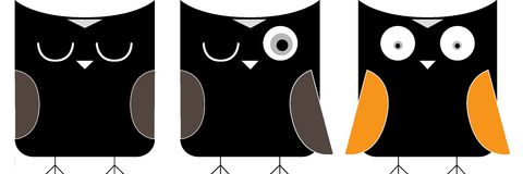 Owl cartoon in black Stock Image