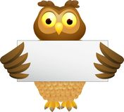 Owl cartoon with blank sign Stock Image