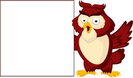 Owl cartoon with blank sign Royalty Free Stock Photography