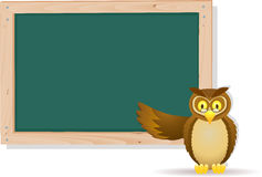 Owl cartoon with board Royalty Free Stock Photo