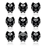 Owl cartoon character  icons set Stock Photography