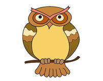 Owl, cartoon, character. Isolated  coloring Stock Images