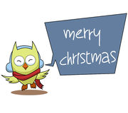 Owl Cartoon Christmas Illustration Royalty-vrije Stock Fotografie