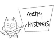 Owl Cartoon Christmas Illustration Black-Wit Royalty-vrije Stock Afbeeldingen