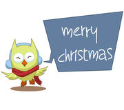 Owl Cartoon Christmas Illustration Full-Kleur Stock Foto's