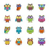 Owl Cartoon Flat Icons. Flat icons set of owls has a single bird but designed adorably that each icon is different from another, The colorful, bright and cartoon Royalty Free Stock Images