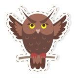 Owl Cartoon Flat Vector Sticker ou icône mignon illustration libre de droits