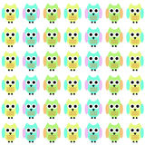 Owl Cartoon I. Color image of three different colored cartoon owls in repeating pattern royalty free illustration
