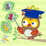 Owl cartoon with little friends. Owl teaching to count with little friends. Vector cartoon illustration, no mesh, vector on eps 10 vector illustration