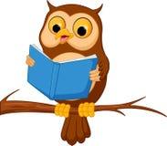 Owl cartoon reading a book. Illustration of Owl cartoon reading a book stock illustration