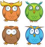 Owl cartoon set. Isolated on white background stock illustration