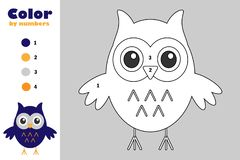 Owl in cartoon style, color by number, halloween education paper game for the development of children, coloring page, kids prescho vector illustration