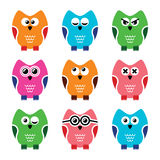 Owl cartoon vector icons set Stock Photos