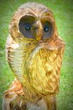 Owl Carved Chainsaw Art Arkivfoto