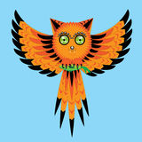 Owl cat. The owl a cat flies and keeps a small fish in claws Royalty Free Stock Image