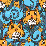 Owl cat mascot fish water blue seamless pattern Stock Photo