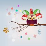 Owl celebrate carnival. Funny illustration of owl celebrate carnival Royalty Free Stock Photography