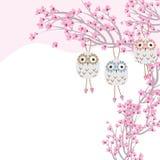 Owl ceramic hang cherry tree Stock Images