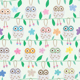Owl ceramic hang seamless pattern. This illustration is big ceramic owl hanging in green line with leaf decoration and colorful flower in green pastel color Stock Photos