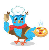 Owl Chef With Pizza Imagem bonito em um fundo branco Imagem de Stock Royalty Free