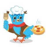 Owl Chef With Pizza Leuk Beeld op een Witte Achtergrond Royalty-vrije Stock Afbeelding