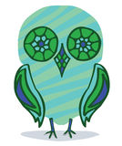 Owl chick. Young green owl chick symbol stock illustration