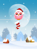 Owl with Christmas sock. Illustration of owl with Christmas sock Royalty Free Stock Photos