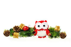 Owl and Christmas tree Royalty Free Stock Image